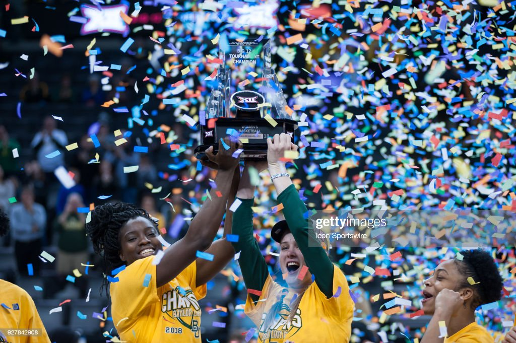 Baylor players celebrating the win versus Texas holding the Big 12 championship trophy during the Big 12 Women's Championship on March 05, 2018 at Chesapeake Energy Arena in Oklahoma City, OK.