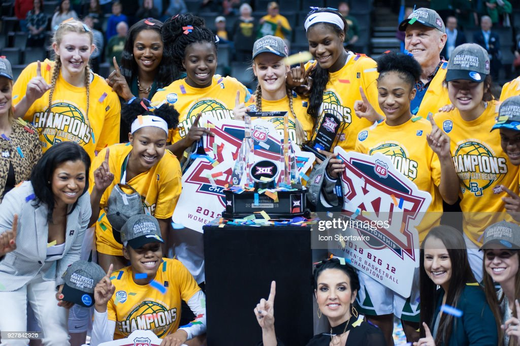 Baylor team celebrating the win versus Texas during the Big 12 Women's Championship on March 05, 2018 at Chesapeake Energy Arena in Oklahoma City, OK.