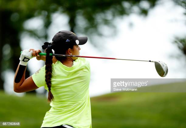 Baylor's Dylan Kim tees off during the Division I Women's Golf Individual Championship held at Rich Harvest Farms on May 22 2017 in Sugar Grove...