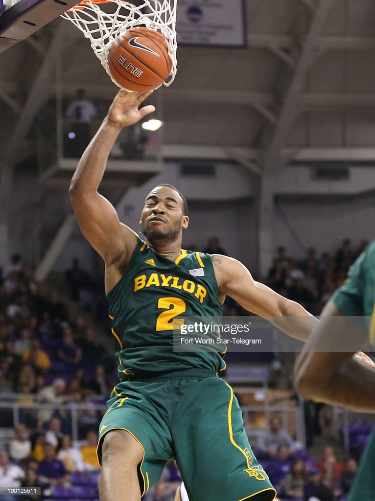 Baylor's Rico Gathers (2) dunks against Texas Christian during the second half at Daniel-Meyer Coliseum in Fort Worth, Texas, on Saturday, January 26, 2013. Baylor won, 82-56.