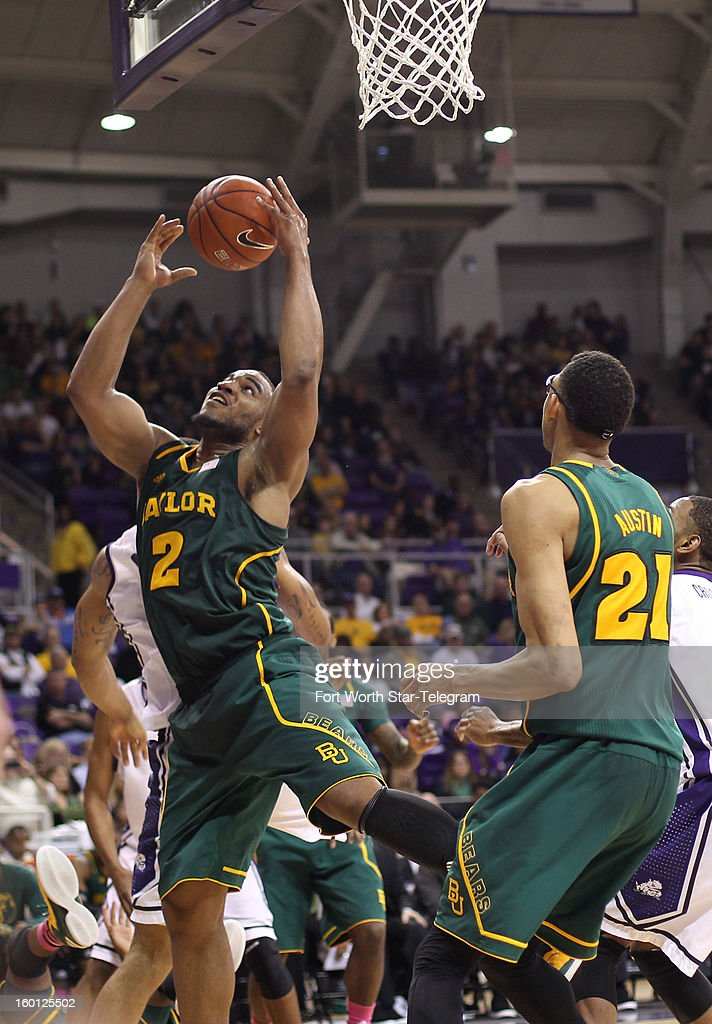 Baylor's Rico Gathers (2) shoots against Texas Christian during the second half at Daniel-Meyer Coliseum in Fort Worth, Texas, on Saturday, January 26, 2013. Baylor won, 82-56.