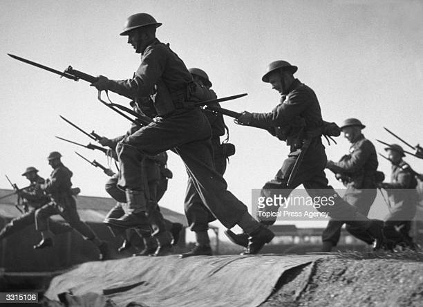 A bayonet charge by Marines during training