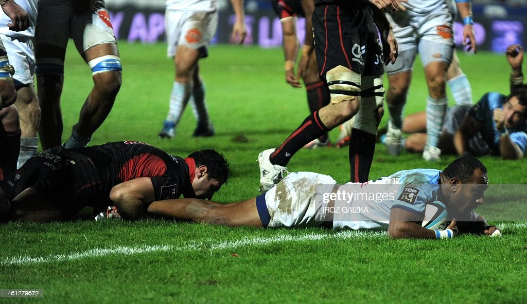Bayonne's center Joe Rokocoko scores during the French Top 14 rugby union match between Bayonne and Lyon at the Jean Dauger stadium on January 10...