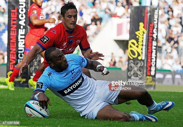 Bayonne's centre Joe Rokocoko scores a try during the French Top 14 rugby union match between Bayonne and Grenoble on April 25 2015 at the JeanDauger...