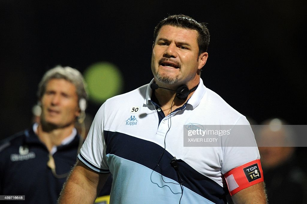 Bayonne's coach Patricio Noriega looks on during the French Top 14 rugby union match La Rochelle vs Bayonne on November 29 2014 at the Marcel...