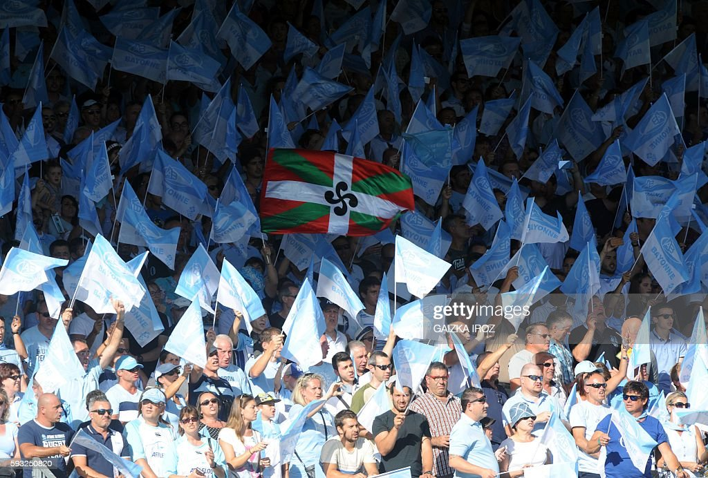Bayonne's supporters cheer during the French Top 14 rugby union match between Bayonne and Toulon at the Jean Dauger stadium on August 21 in Bayonne...