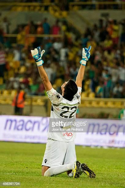 Bayron Garcia goalkeeper of Real Cartagena celebrates after winning a match between America de Cali and Real Cartagena as part of Torneo Postobon...