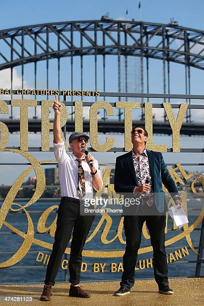 Baz Luhrmann and Brendan Jones speak on stage during Strictly Sydney at Sydney Opera House on February 23 2014 in Sydney Australia