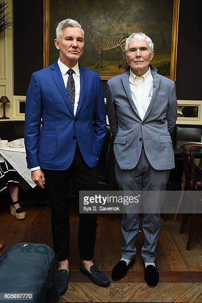 Baz Luhrmann and Glenn O'Brien pose during Tea At The Beatrice Inn With Glenn O'Brien Featuring Baz Luhrmann on September 14 2016 in New York City