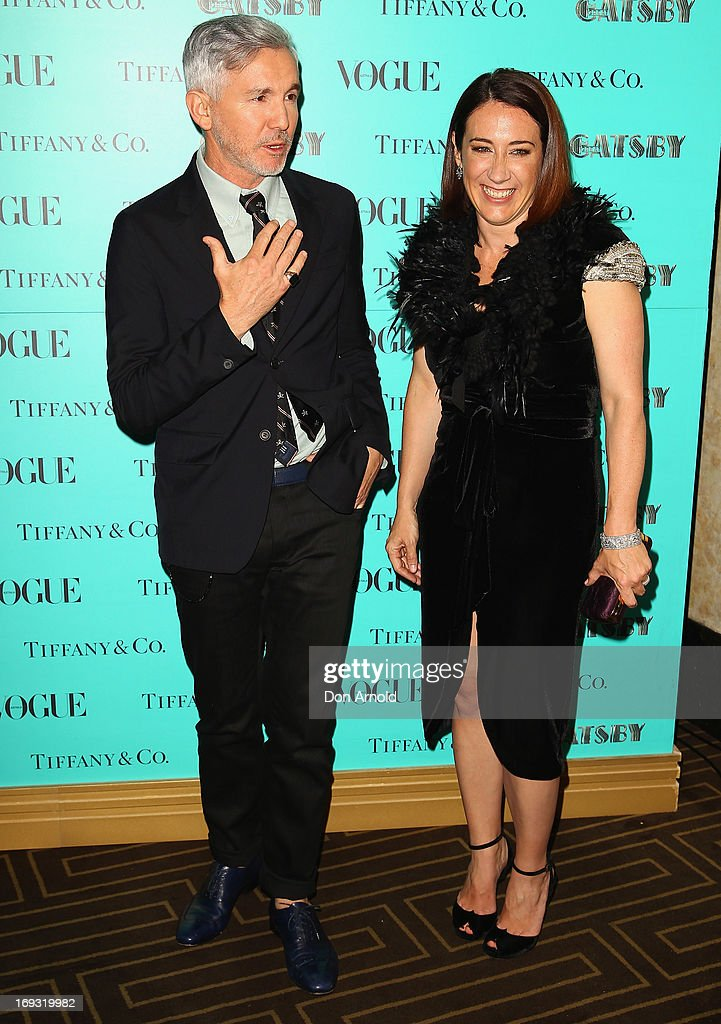 Baz Lurhmann and Edwina McCann arrive at the Tiffany & Co Great Gatsby dinner at Rockpool on May 23, 2013 in Sydney, Australia.