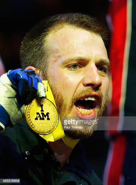 Baz Whittingham of Great Britain celebrates with his gold medal after the Wheelchair Rugby Gold medal match against the United States during day 2 of...