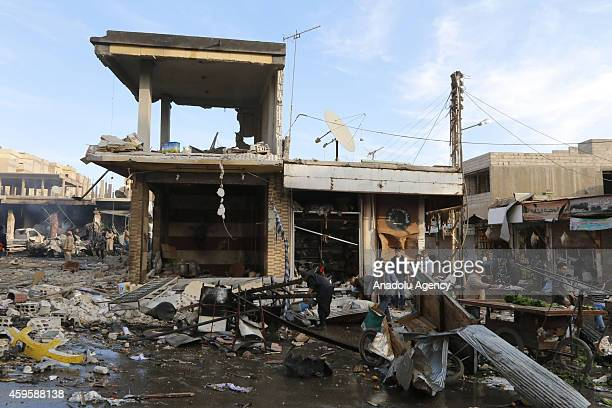 A bazaar set near Raqqa Museum square is destroyed during the air strikes by Syrian army warplanes on the ISILheld northern city of Raqqa Syria on...