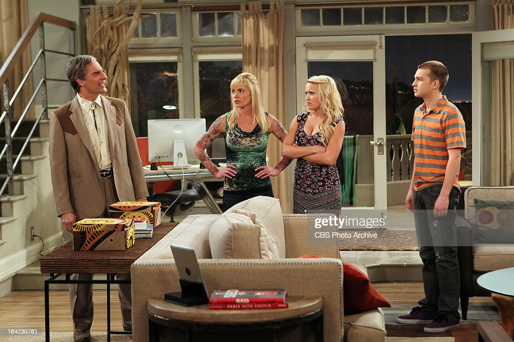 'Bazinga! That's from a TV show.'-- Jake (Angus T. Jones, right) is caught in a messy cheating scandal with his girlfriend, Tammy (guest star Jamie Pressley, center left), her daughter, Ashley (guest star Emily Osment, center right) and Ashley's older boyfriend, Jerry (guest star Scott Bakula, left), on TWO AND A HALF MEN, Thursday, April 4 (8:31 ' 9:01 PM, ET/PT) on the CBS Television Network. Coverage of the CBS series Two and a Half Men.