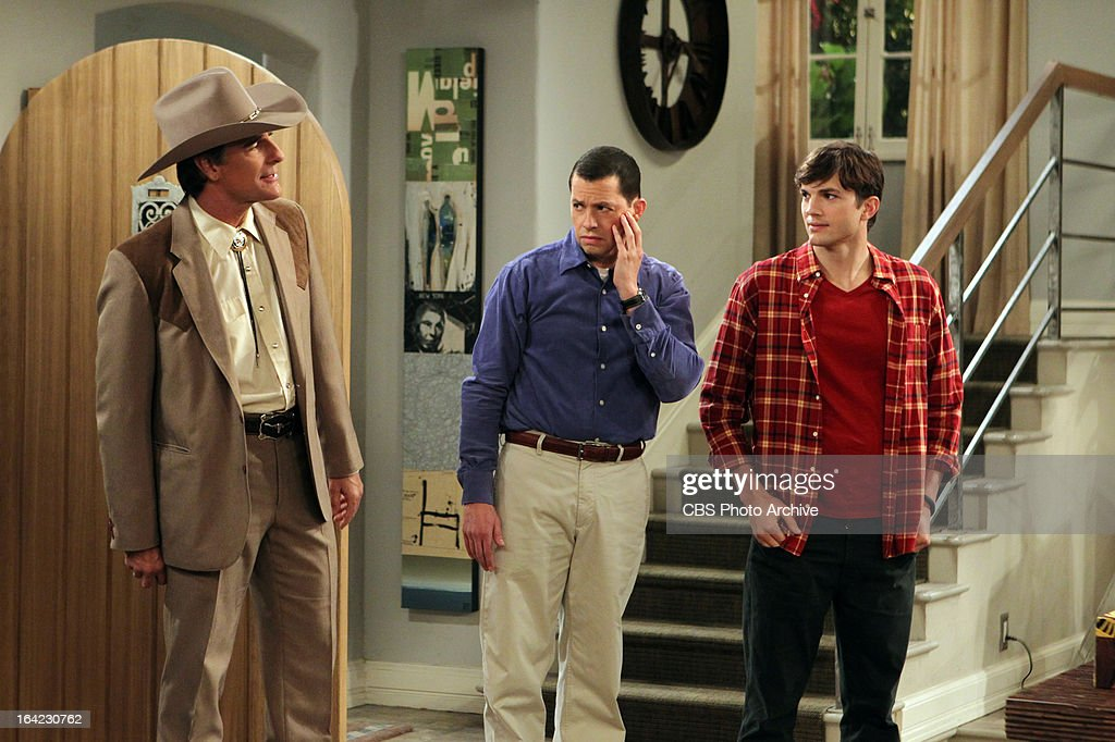 'Bazinga! That's from a TV show.'-- Jerry (guest star Scott Bakula, left) arrives to complicate matters for Jake, while Alan (Jon Cryer, center) and Walden (Ashton Kutcher, right) get caught in the crossfire, on TWO AND A HALF MEN, Thursday, April 4 (8:31 ' 9:01 PM, ET/PT) on the CBS Television Network.