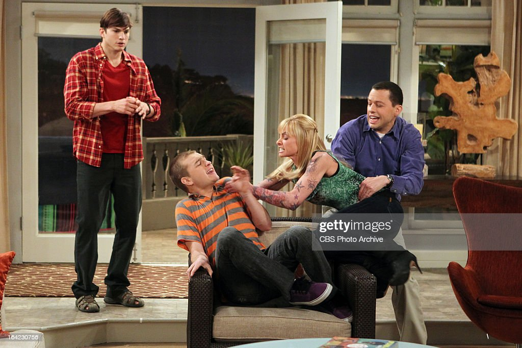 'Bazinga! That's from a TV show.'-- Tammy (guest star Jamie Pressley, second right) is furious with her boyfriend, Jake (Angus T. Jones, second left) when he cheats on her with her daughter ' and Alan (Jon Cryer, right) and Walden (Ashton Kutcher, left) get caught in the crossfire, on TWO AND A HALF MEN, Thursday, April 4 (8:31 ' 9:01 PM, ET/PT) on the CBS Television Network.