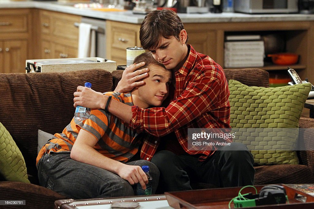 'Bazinga! That's from a TV show.'-- Walden (Ashton Kutcher, right) comforts Jake (Angus T. Jones, left) when he is caught cheating on his older girlfriend with her 18-year-old daughter, on TWO AND A HALF MEN, Thursday, April 4 (8:31 ' 9:01 PM, ET/PT) on the CBS Television Network.
