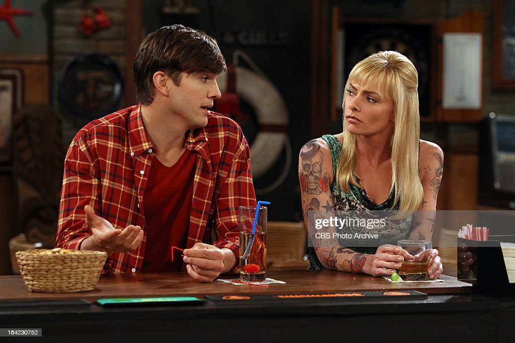 'Bazinga! That's from a TV show.'-- Walden (Ashton Kutcher, left) talks with Tammy (guest star Jamie Pressley, right) about Jake, on TWO AND A HALF MEN, Thursday, April 4 (8:31 ' 9:01 PM, ET/PT) on the CBS Television Network.