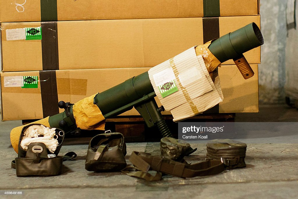A bazooka of the German armed forces is prepared to be packed in containers with weapons destined for northern Iraq at a military base on September...