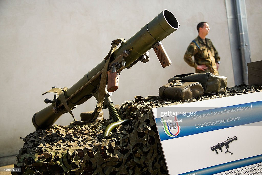 A bazooka of the German armed forces is presented during a press tour about the preparation to pack these in containers with weapons destined for...