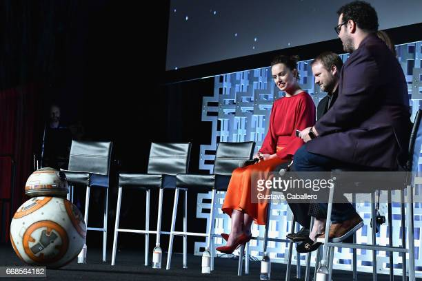 Daisy RidleyRian Johnson and Josh Gad attends the Star Wars Celebration day 02 on April 14 2017 in Orlando Florida
