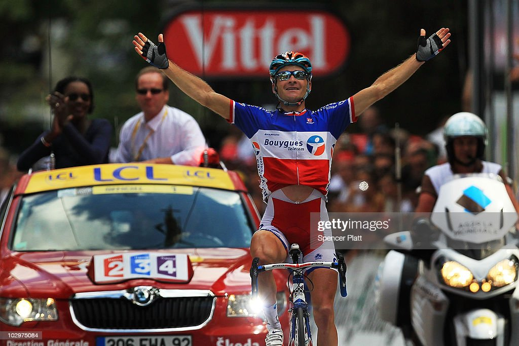Bbox rider Thomas Voeckler the National Champion of France wins stage 15 of the Tour de France on July 19 2010 in BagnèresdeLuchon France Spaniard...
