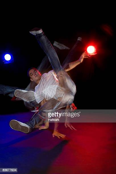 A B-boy doing a  Flare breakdance move, stroboscopic effect