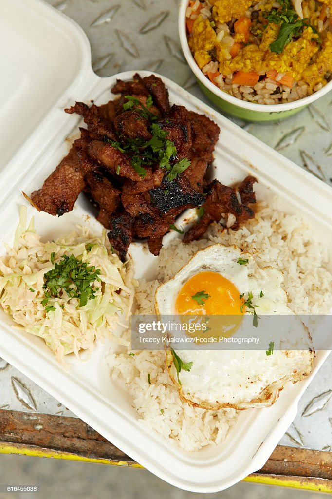 BBq pork and fried rice with fried egg : Stock Photo