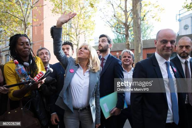 BBrigitte Trogneux wife of French President Emmanuel Macron and French Minister of Education Jean Michel Blanquer participate in the reading of an...