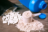 bcaa pills and heap of protein powder