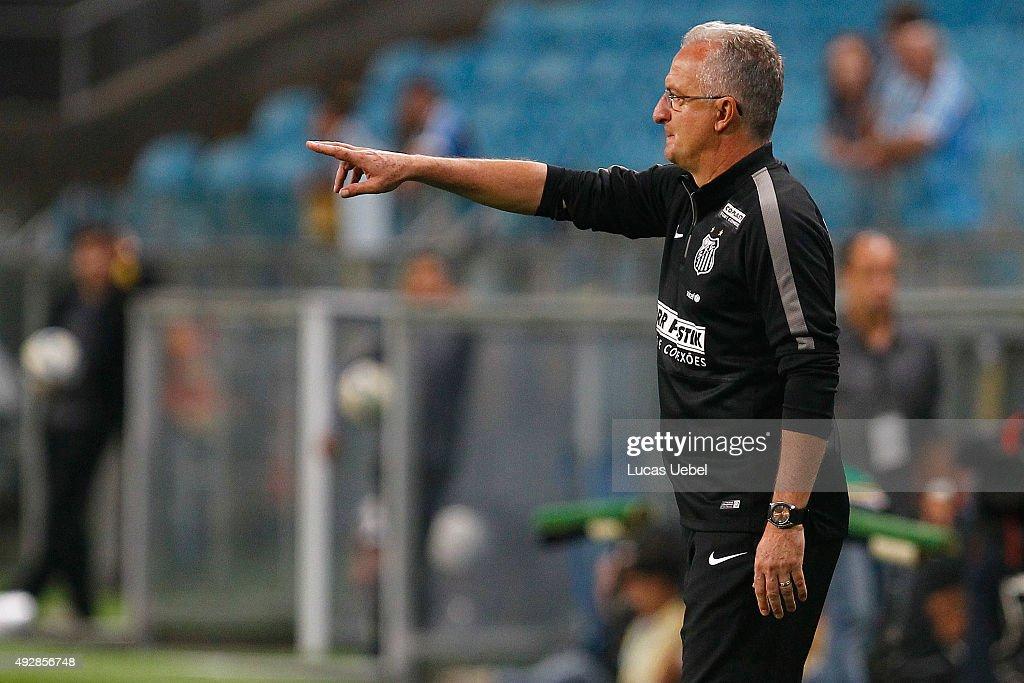 BDorival Junior coach of Santos during the match Gremio v Santos as part of Brasileirao Series A 2015 at Arena do Gremio on October 15 2015 in Porto...