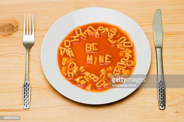 Be mine in alphabet soup