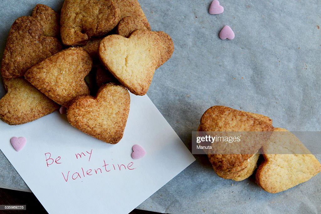 Be my Valentine Note and Bunch of Heart Shaped Cookies : Stock Photo