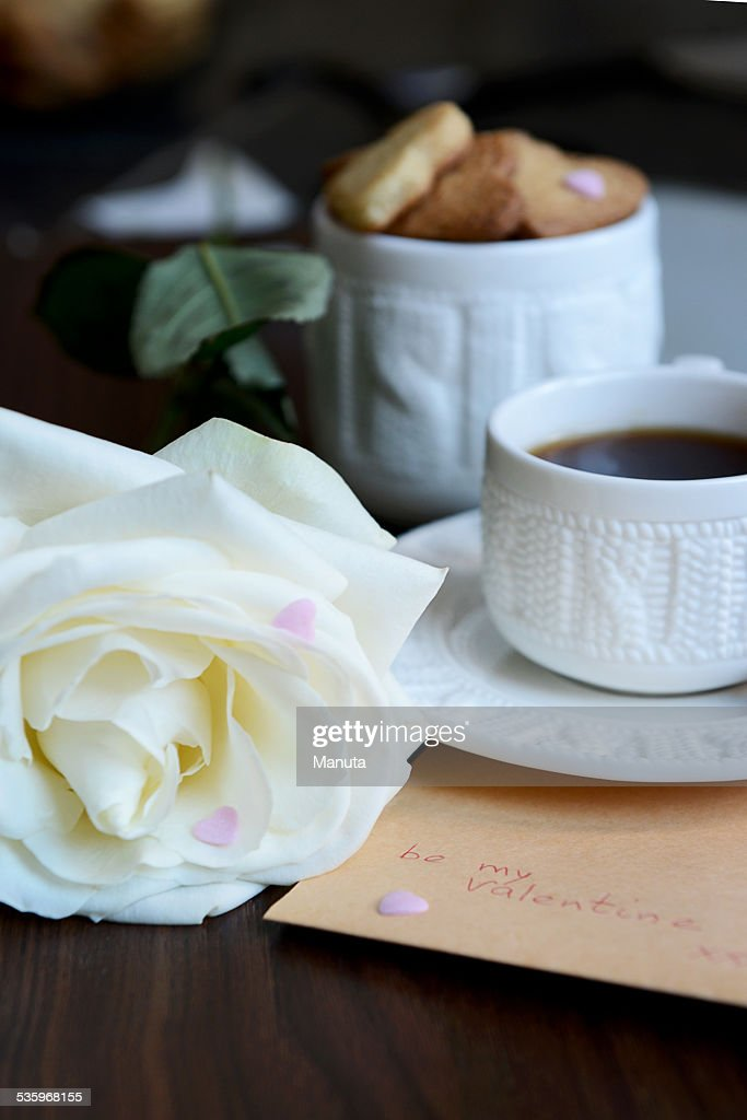 Be my Valentine Note, Bunch of Heart Shaped Cookies, Rose : Stock Photo