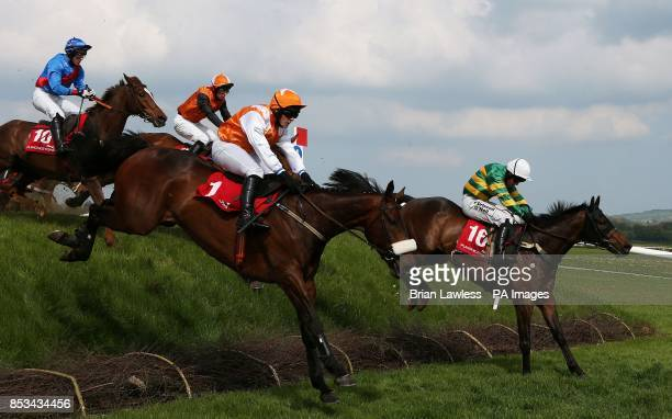 Be Positive ridden by Nina Carberry comes over Ruby's Double on the way to winning the Kildare Hunt Club Fr Sean Breen Memorial Steeplechase during...