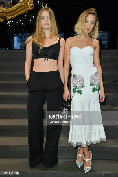 Bea Fresson and Tess Ward attend the Dolce Gabbana show during Milan Fashion Week Spring/Summer 2018 on September 24 2017 in Milan Italy