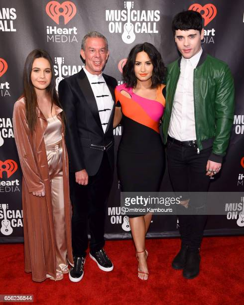 Bea Miller Elvis Duran Demi Lovato and Leon Else attends A Night To Celebrate Elvis Duran presented by Musicians On Call at The Edison Ballroom on...