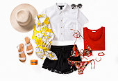 Beach accessories and clothing isolated on white background ( with clipping path)