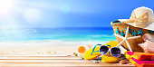 Sun Hat, Bag, Flip flops And Sunglasses On Seashore