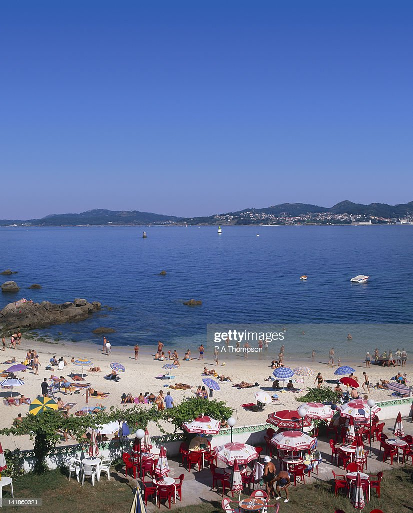 Beach and Cafe, Vigo, Galicia, Spain : Stock Photo