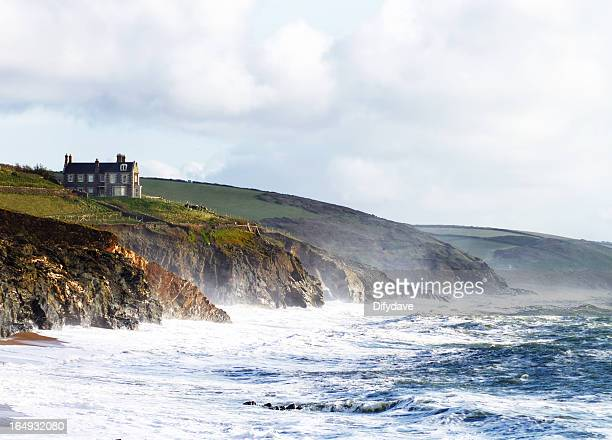 Beach And Cliffs At Porthleven Cornwall UK