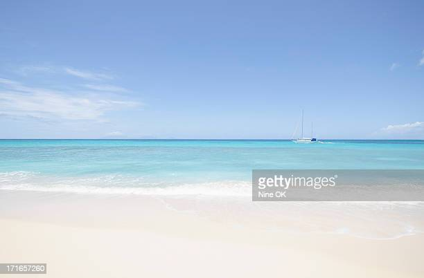 Beach and sailboat, Antigua