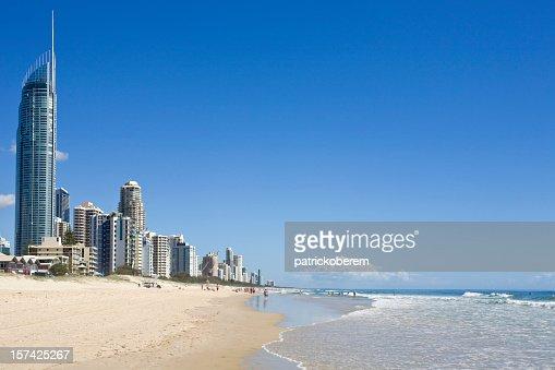 Beach and sea at the Gold Coast in Australia