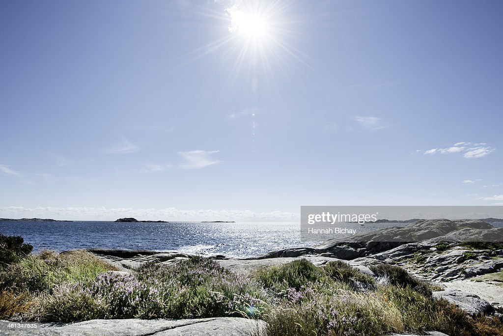 Beach and Sea in bright sunlight, South Norway : Stock Photo