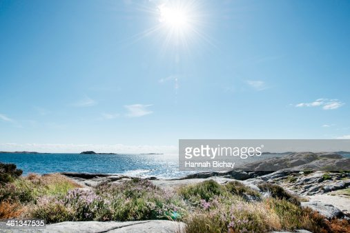 Beach and Sea in bright sunlight, South Norway