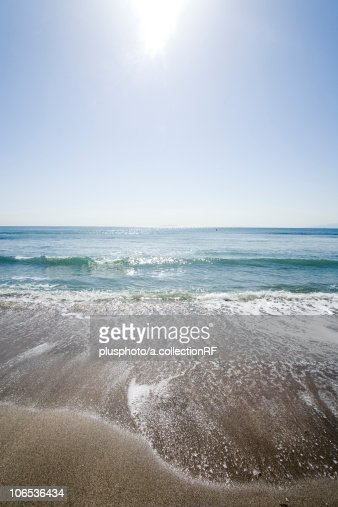 Beach and sunbeam, Kanagawa Prefecture, Honshu, Japan : Stock Photo