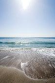 Beach and sunbeam, Kanagawa Prefecture, Honshu, Japan