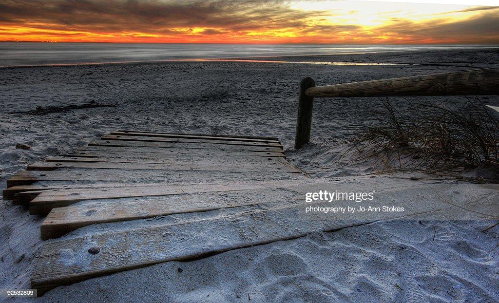 Beach and sunset : Stock Photo