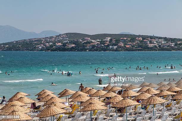 Beach and sunshades  at Cesme town near Izmir