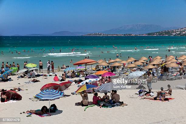 Beach and sunshades  at Cesme town near Izmir