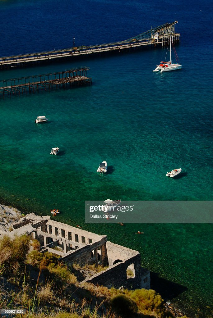 Beach at abandoned pumice stone mine, Lipari : Stock Photo